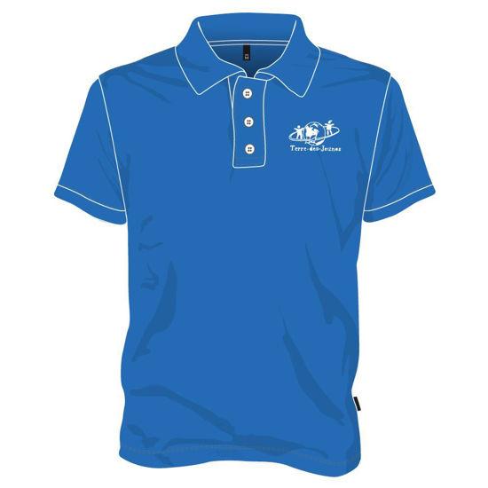 Image sur Polo manches courtes avec boutons (Bleu royal)
